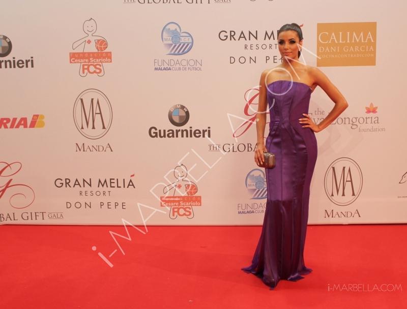 Whose dress was Eva Longoria wearing at the gala?