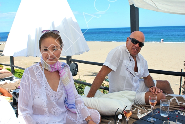 Saeko Hamada and Alessandro Della Morte Celebrating 1st Anniversary at Purobeach
