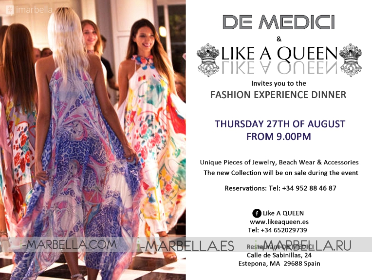 Global Fashion Dinner at De Medici on August 27, 2015