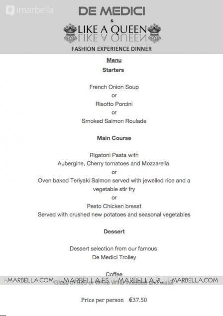 Global Fashion Dinner at De Medici on August 27, 2015