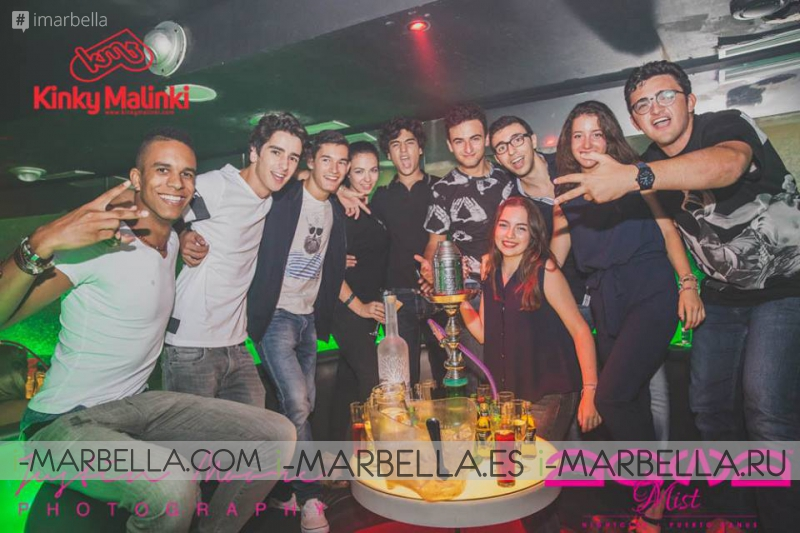 Известная вечеринка Kinky Malinki в клубе Aqwa Mist 30 августа 2015 года