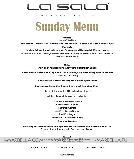 Fantastic Sunday Menu for Sunday Lunches @ La Sala Puerto Banus