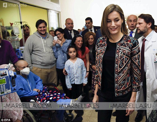 Queen Letizia Visiting Sick Youngsters in a Children's Hospital in Madrid