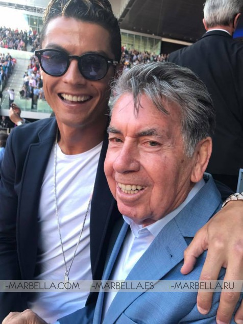 Cristiano Ronaldo and Manolo Santana at Mutua Madrid Open 2017 watching the Nadal-Djokovic semi-finals match