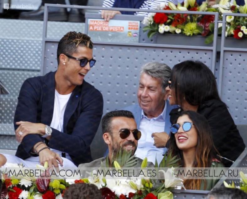 Cristiano Ronaldo and Manolo Santana at Mutua Madrid Open 2017 watching the Nadal-Djokovic semi-finals match