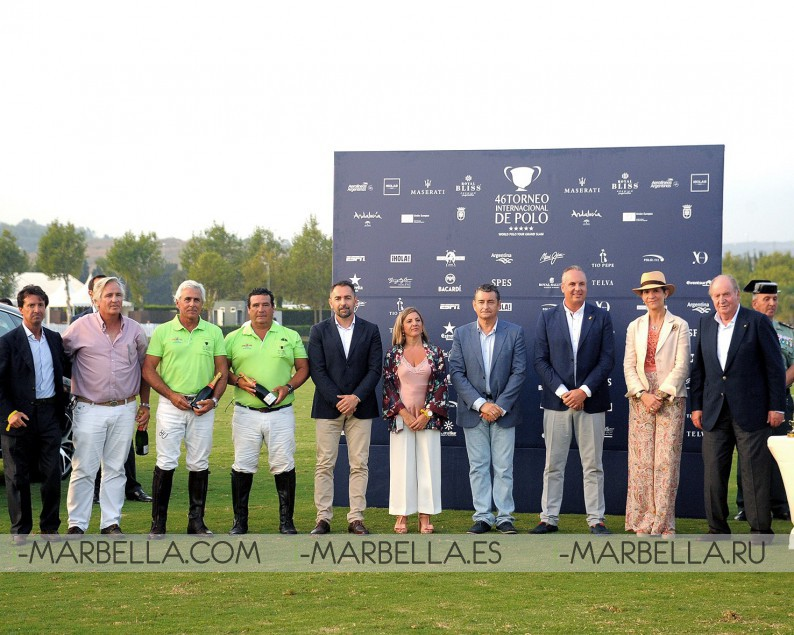 The King Don Juan Carlos delivered The Golden Cup to Ayala Polo Team, August 2017