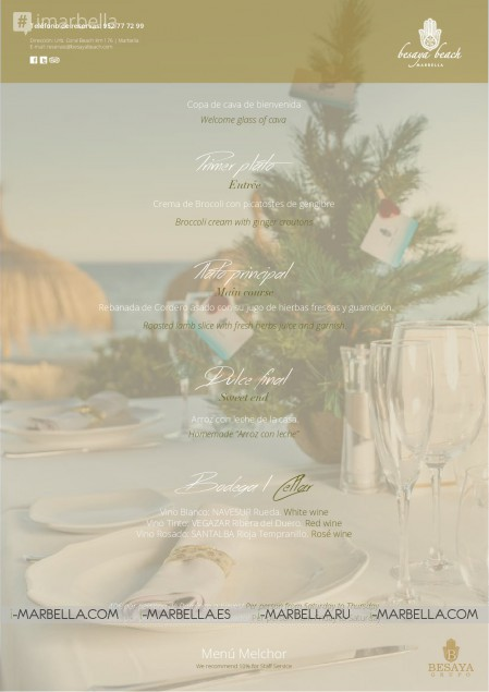 Besaya Beach @ Marbella Christmas Group Menu 2017