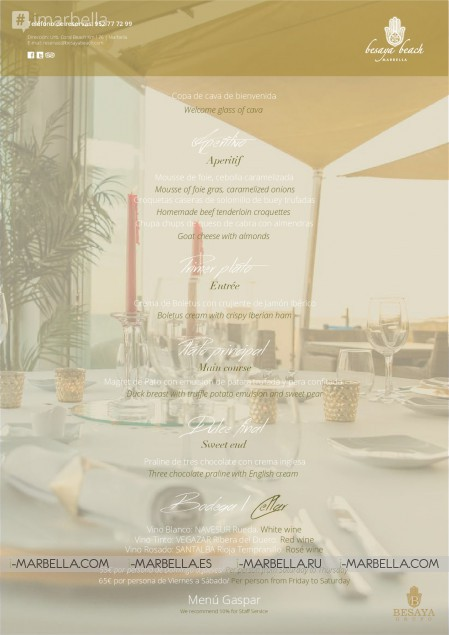 Besaya Beach Christmas Group Menu @ Marbella  2017