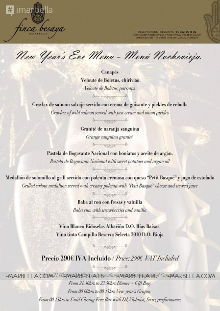 Book your table for the 2017 New Year's Eve Special Dinner @ Finca Besaya Marbella
