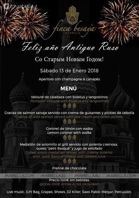 Join the most awesome Russian New Year Party @ Finca Besaya of Marbella 13 01 2018