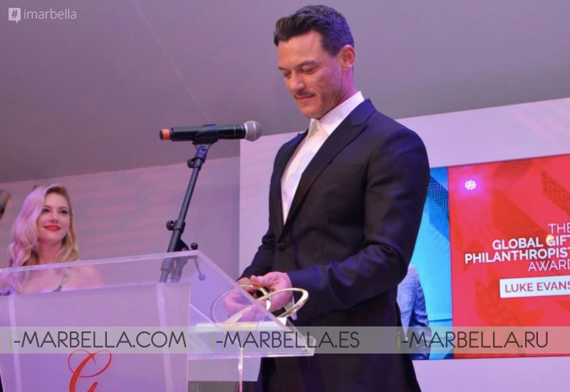 Maria Bravo awarded Hollywood star Luke Evans at the 7th Global Gift Initiative in Cannes May 10, 2018