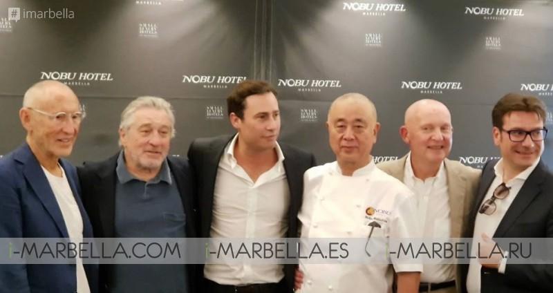 Robert De Niro, Daniel Shamoon, Chef Nobu and Meir Teper opening Nobu Marbella Hotel 16 May 2018