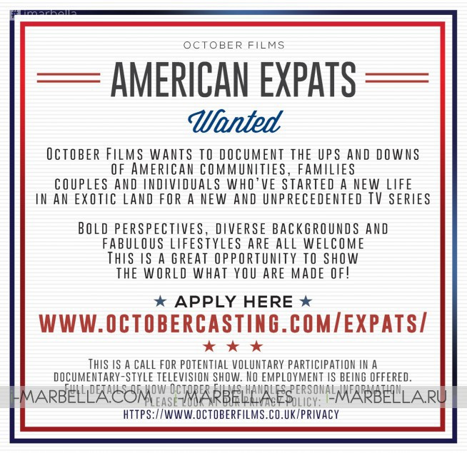October Films: American communities in Spain are wanted for Auditions & Casting in a TV Show 2018