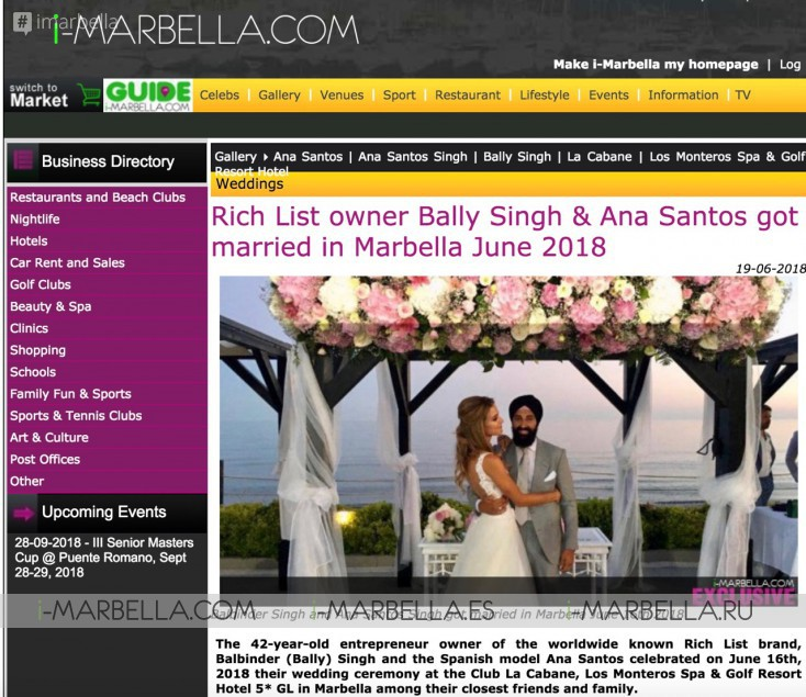 Bally Singh, Cristiano Ronaldo, Robert De Niro are on the 10 Top I-Marbella news 2018