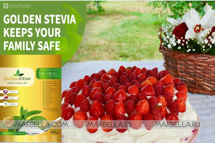 Golden Stevia powder as a Sugar Substitute: zero calories, healthy, and safe.