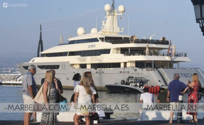 Four Mega-Barges of International Fortunes including Roberto Cavalli meet @Puerto Banús Marbella August 2019