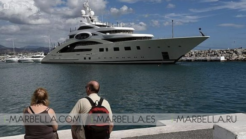 Four Mega-Barges of International Fortunes including Roberto Cavalli meet @Puerto Banús Marbella August 2019